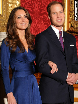 The wax models' poses are based on their appearance before the cameras at St James's Palace to announce their engagement in November 2010.