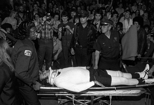 Kaufman left the arena on a stretcher and an ambulance rushed him to the hospital.