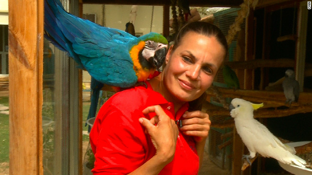 Ayesha Kelaif with her South American macaw Rio, an endangered animal. She found him abandoned in a cardboard box in a parking lot.
