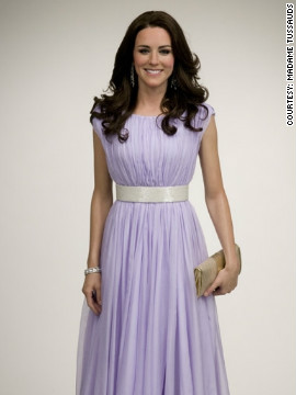 "The New York ""Kate"" wears a replica of the lilac Alexander McQueen gown she wore to a BAFTA event in Los Angeles, during the royal couple's hugely popular tour of Canada and the U.S."