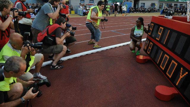 Last year she ran the 100 meters in 10.76 seconds, the second fastest time in history, raising the prospect that she could contend in London for both sprint events.