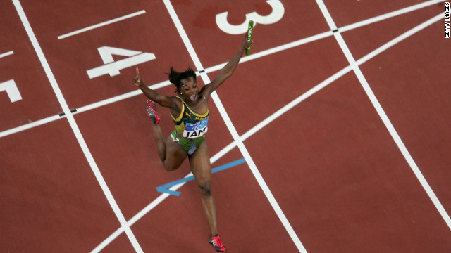 She capped an incredible competition in Greece by also taking the Jamaican 4x100m relay team over the finishing line in first place. 