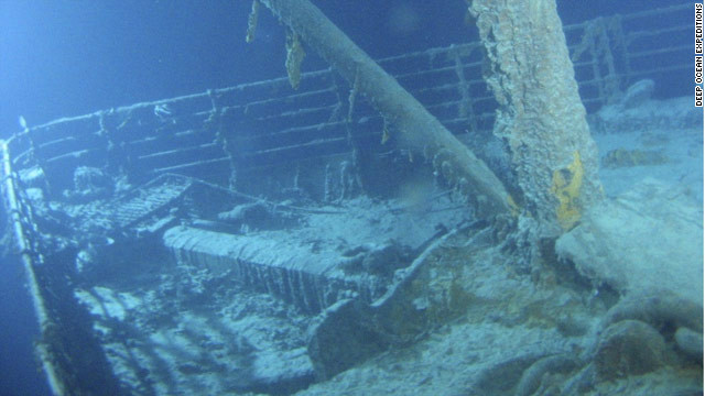 The Titanic lies a full 12,000 feet below the surface at the bottom of the North Atlantic Ocean.