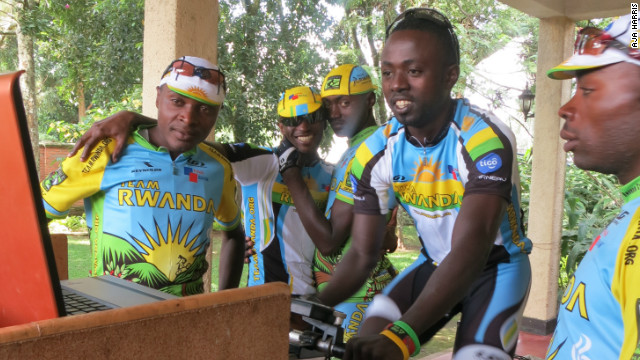 Team Rwanda's Rafiki Uwimana on a velotron, which measures energy output in watts, to give an indication of a rider's competitive potential.