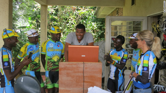 Inside Africa's Errol Barnett tests his cycling power on Team Rwanda's velotron.