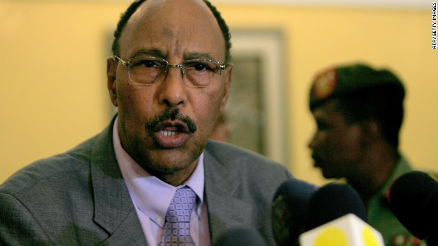 Sudanese Defense Minister Abdelrahim Mohamed Hussein speaks to the press upon his return from Ethiopia on April 4.