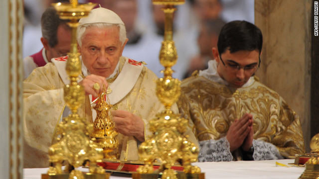 Pope Benedict XVI leads the Mass of the Lord's Supper on Holy Thursday at the Basilica of St. John Lateran in Rome on April 5.