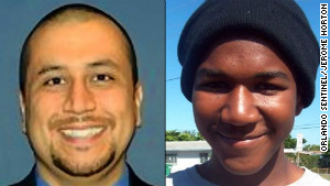George Zimmerman, left, and Trayvon Martin.