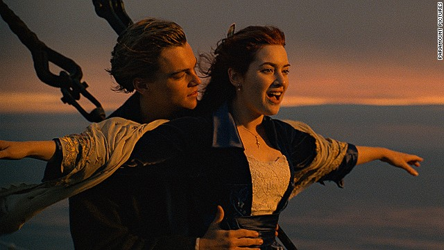 Leonardo DiCaprio and Kate Winslet, shown here in the iconic scene from