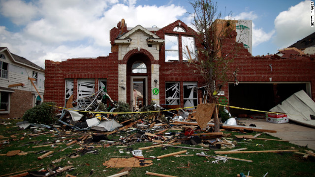 This home in Forney is a single example of the widespread devastation caused by Tuesday's storms.