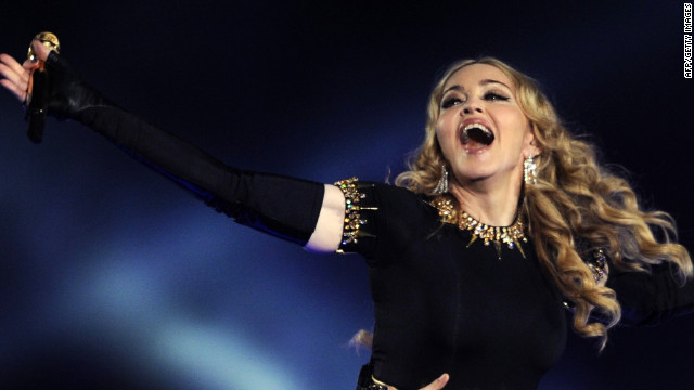 Madonna performs during the NFL Super Bowl XLVI game halftime show in February in Indianapolis, Indiana.