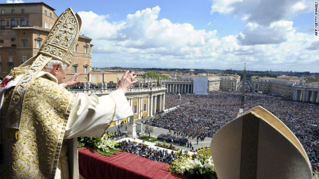 Pope Benedict XVI delivers his &quot;Urbi et Orbi&quot; message and blessing from the central balcony of St. Peter's Basilica at the end of the Easter Mass on Sunday in Vatican City. 