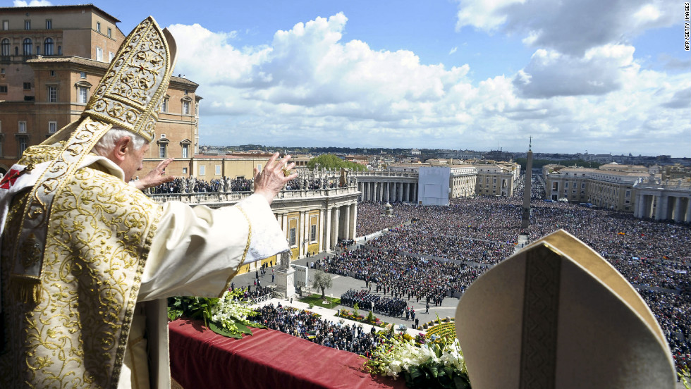 "Pope Benedict XVI delivers his ""Urbi et Orbi"" message and blessing from the central balcony of St. Peter's Basilica at the end of the Easter Mass on Sunday in Vatican City."