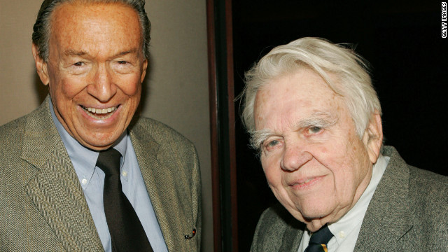Wallace and and fellow &quot;60 Minutes&quot; correspondent Andy Rooney attend a 2005 screening of &quot;Enron: The Smartest Guys in the Room&quot; in New York. 
