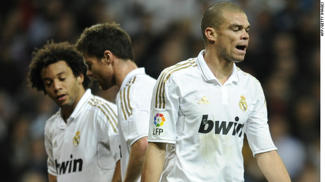 Real Madrid defender Pepe shows his frustration in his side's 0-0 draw at home to Valencia.