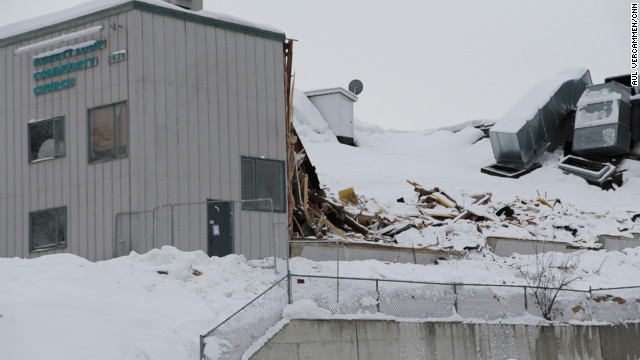 Snow caused the roof to collapse in the auditorium at the Abbott Loop Community Church in Anchorage, Alaska.