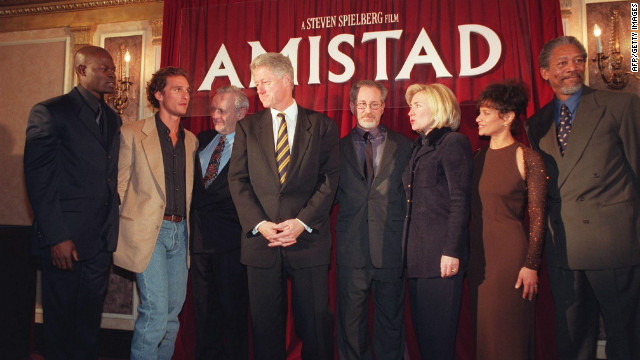 Then U.S. President Bill Clinton and First Lady Hillary Clinton attend the Washington premiere of &quot;Amistad&quot; on 4 December 1997.