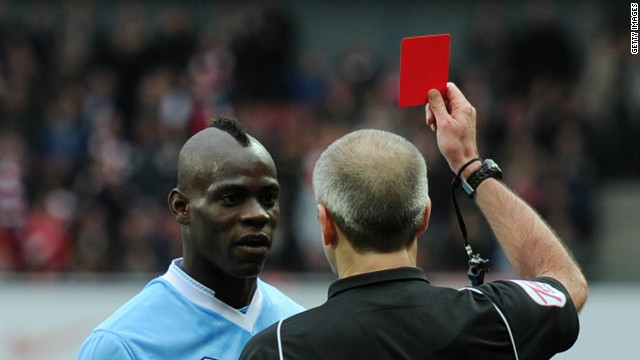 Balotelli is red-carded after a foul on Arsenal's Barcary Sagna on Sunday. Man City lost the match 1-0, with manager Robert Mancini later saying: &quot;It's clear he's created big problems, but he's scored important goals.&quot;