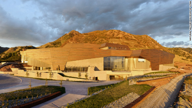 The setting sun illuminates the copper faade on the Rio Tinto Center, the Natural History Museum of Utah's new building. The copper is offset in sections to represent the state's geology. 