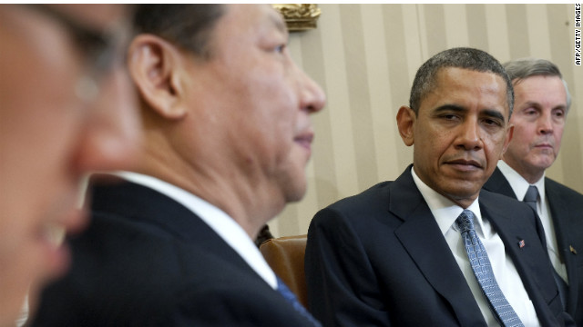 President Obama and Chinese Vice President Xi Jinping meet at the White House in Washington on February 14.