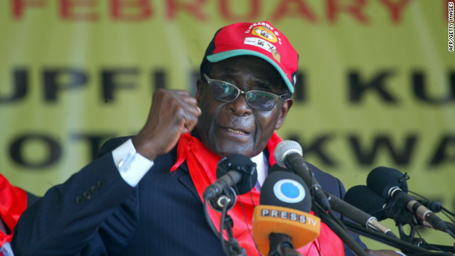 Robert Mugabe pictured during a rally to mark his birthday in February 2012.