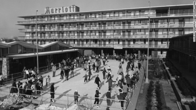 The Twin Bridges, in Arlington, Virginia, was the first Marriott hotel. The 365-room motel was opened in 1957. During the winter months the swimming pool and patio were converted to an outdoor ice skating rink.