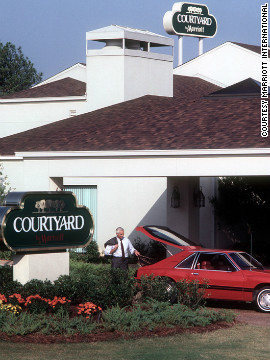 "The modern hotel industry is characterized by segmentation into brands. Marriot opened its first sister brand, Courtyard, in Atlanta, in 1983.<!-- --> </br><!-- --> </br> ""It was tremendously successful,"" said Bill Marriott. ""So then we just started cranking out these Courtyards. They didn't have a lot of services -- limited restaurant menu, no bellman, no room service, no parking attendants -- but it was a low price for a great room."" <br/><br/>There are now more than 700 Courtyard hotels."