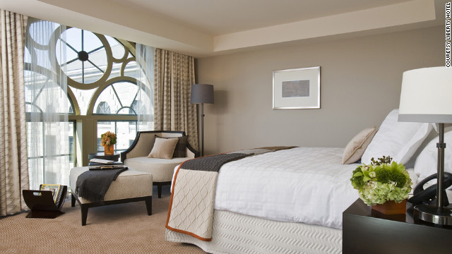 Originally built in 1851 as a prison, the Liberty Hotel in Boston, Massachusetts has sleek guest rooms with sweeping views of downtown Boston and the Charles River.