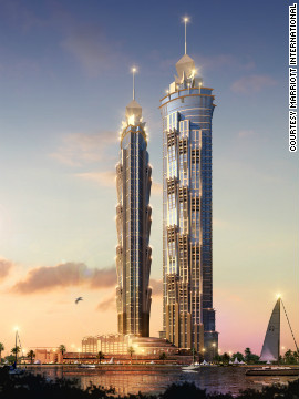 An illustration of the JW Marriott Marquis Dubai, due to open in 2012.<!-- --> </br><!-- --> </br> When completed, it will have 1,608-rooms and will be 355 meters tall, making it the tallest dedicated hotel building in the world.