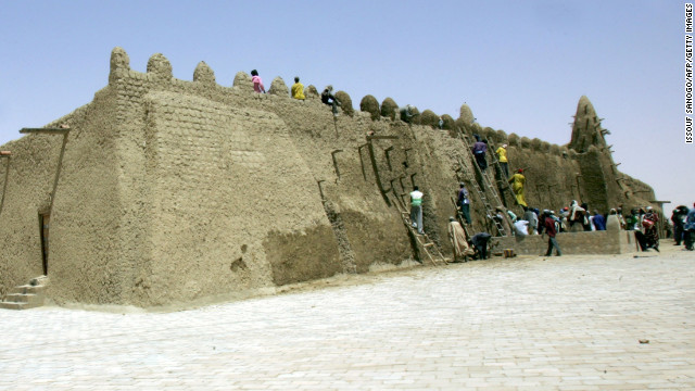 Among Timbuktu's treasures is the Djinguereber Mosque, one of the three schools which comprised the medieval Islamic university of Timbuktu.