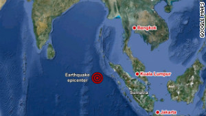 Epicenter of earthquake off the coast of northern Sumatra