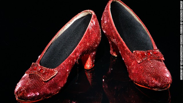 "The ""American Stories"" exhibit includes one of several pairs of the sequined size-five shoes worn by 16-year-old Judy Garland as Dorothy in ""The Wizard of Oz."""