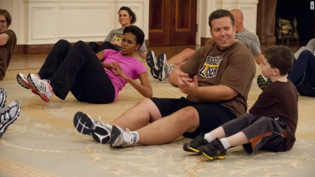 First Lady gets 'Biggest Loser' contestants moving