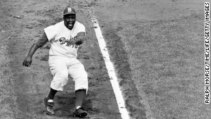 Jackie Robinson, born in Cairo, Georgia, in 1919, broke the Major League color barrier in 1947.