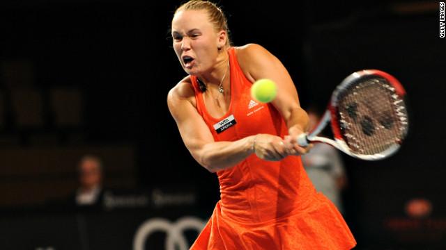Caroline Wozniacki plays a powerful ground stroke during her straight sets win in Copenhagen.