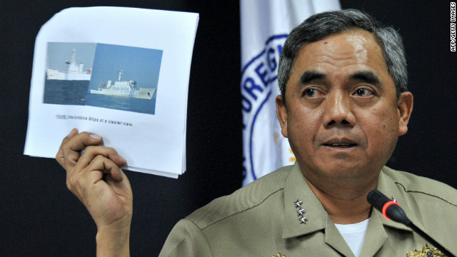 Philippine Navy Vice Admiral Alexander Pama speaks during a press conference in Manila on Wednesday.