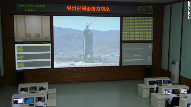Western journalists, including those from CNN, were taken to the rocket's control center near Pyongyang.