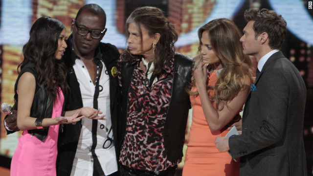 Jessica Sanchez (far left) was saved from elimination by (left to right) Randy Jackson, Steven Tyler and Jennifer Lopez.