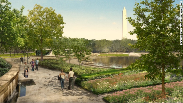 Gardens and walkways at pond in Constitution Gardens. Proposal by Nelson Byrd Woltz Landscape Architect &amp;amp; Paul Murdoch Architects