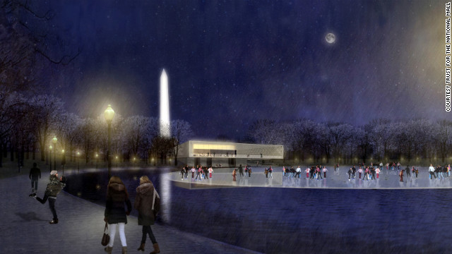 A skating rink and pavilion for the pond in Constitution Gardens. Proposal by Rogers Marvel Architects & Peter Walker and Partners