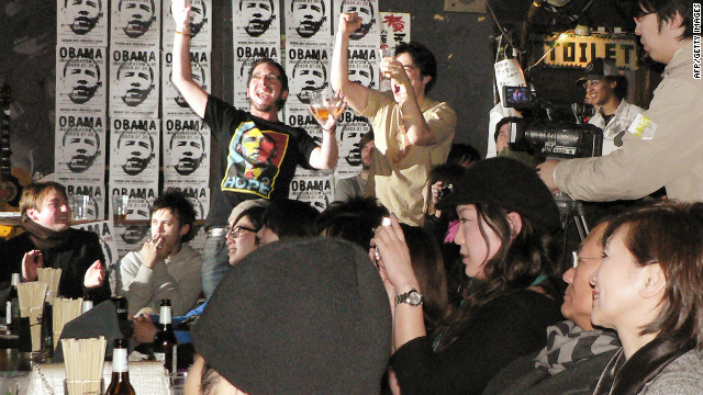 The idea that whoever won the 2008 Democratic nomination would make history was exciting for the Japanese, and crowds gathered in Tokyo bars to celebrate Barack Obama's election.
