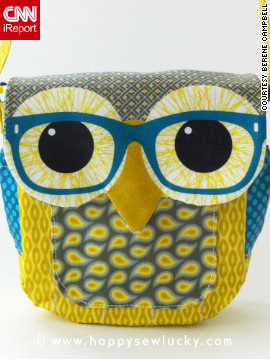"Berene Campbell sewed this owl bag together from a pattern she designed herself. ""I do enjoy the now trendy graphic use of animals in fashion such as Rachel's sweaters on 'Glee.' Love that poodle sweater!"" she said."