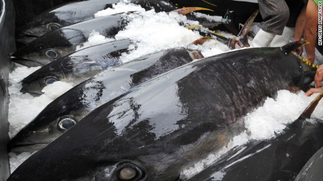 "Salmonella in a frozen raw yellowfin tuna product, known as Nakaochi Scrape, sickened 425 people and hospitalized 55 in the spring and summer of 2012. The product was used most often to make ""spicy tuna"" sushi, according to the CDC."