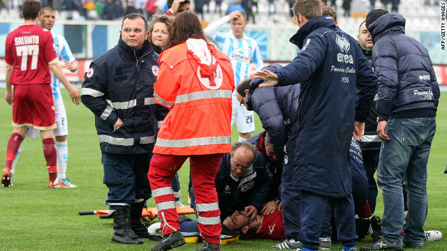 Medics treat Morosini on the pitch in Pescara after he suffered a heart-attack during the Serie B match.