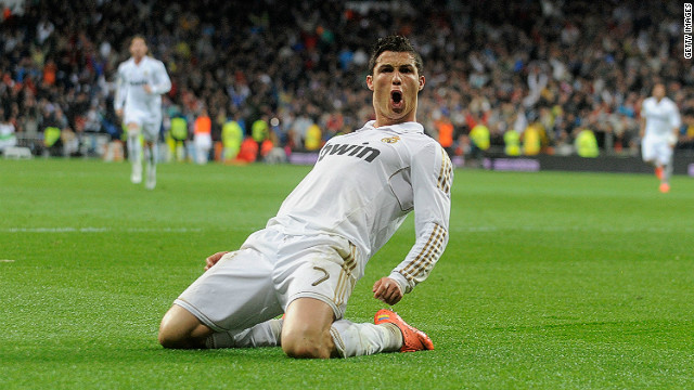 Cristiano Ronaldo celebrates scoring Real Madrid's second goal on Saturday and his 41st of this year's La Liga campaign.