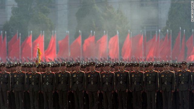 North Korean soldiers stand in formation during the parade on Sunday.