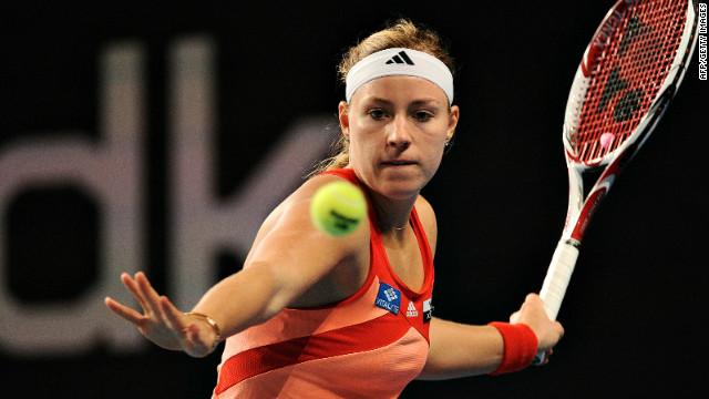 Angelique Kerber powered to victory in her Copenhagen final against Caroline Wozniacki.