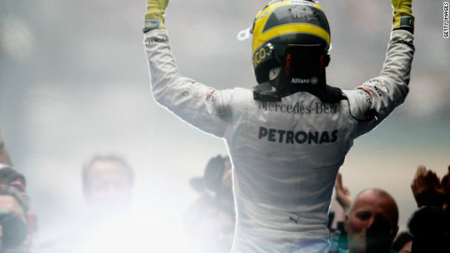 Nico Rosberg celebrates his superb victory for Mercedes in the Chinese Grand Prix.