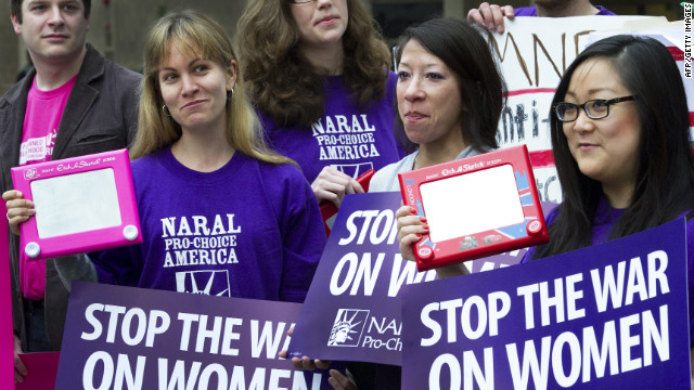 Abortion-rights protesters rally last month outside a Washington hotel where presidential hopeful Mitt Romney held a fundraiser.