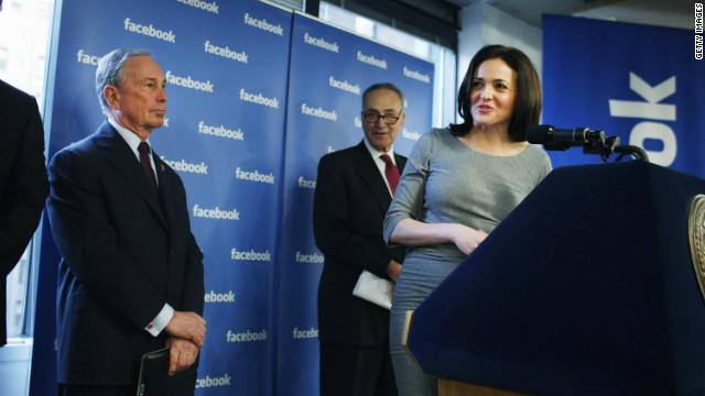 Facebook chief operating officer Sheryl Sandberg, pictured at a December news conference with New York Mayor Michael Bloomberg and Sen. Charles Schumer, says she leaves work daily at 5:30 p.m.